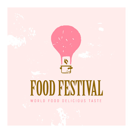 Vector food festival logo template in different color variants isolated. Restaurant, cafe, catering, food service emblem design. Illustration of textured flying pink air balloon and pot.