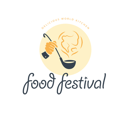 Vector food festival logo template in different color variants isolated. Restaurant, cafe, catering, food service emblem design. Human hand holding scoop and earth smoke icon illustration. Illustration