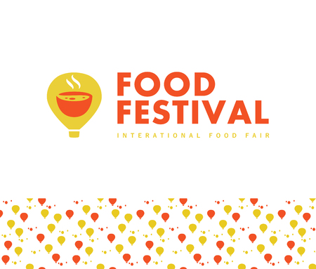 Vector food festival logo template in different color variants isolated. Restaurant, cafe, catering, food service emblem design. Logotype with air balloon and aroma bowl illustration, pattern.