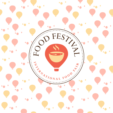 Vector food festival logo template in different color variants isolated. Restaurant, cafe, catering, food service emblem design. Logotype with air balloon and aroma bowl illustration, seamless pattern Ilustração