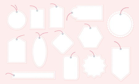 Vector collection of blank Christmas gift tags and badges templates different shapes isolated on light background. Emblems for xmas holiday presents packaging. Good for New year congratulations. Ilustracja