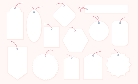 Vector collection of blank Christmas gift tags and badges templates different shapes isolated on light background. Emblems for xmas holiday presents packaging. Good for New year congratulations. 일러스트