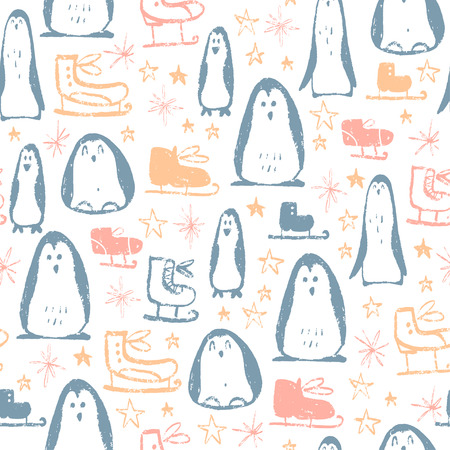 Vector Christmas seamless pattern with hand drawn figure skates, stars, snowflakes and penguin characters sketch elements. Perfect for cards, gift tags, packaging paper etc.