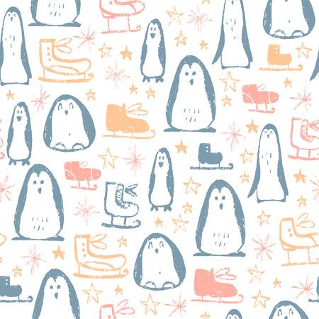 Modèle sans couture de Noël de vecteur avec patins, étoiles, flocons de neige et éléments de croquis de personnages de pingouin dessinés à la main. Parfait pour les cartes, les étiquettes cadeaux, le papier d'emballage, etc.