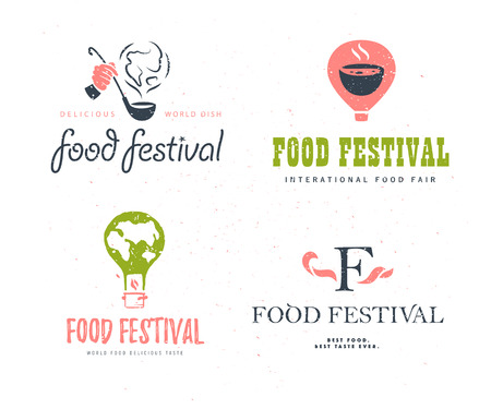 Vector food festival logo template set variants isolated. Restaurant, cafe, catering, food service emblem design. Human hand holding scoop and  smoke, air balloon, earth shape illustration.
