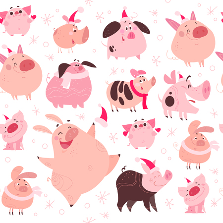 Vector flat seamless pattern with christmas snow flake elements and funny pig in santa hat characters design isolated on white background. Perfect for cards, packaging paper, decoration etc.