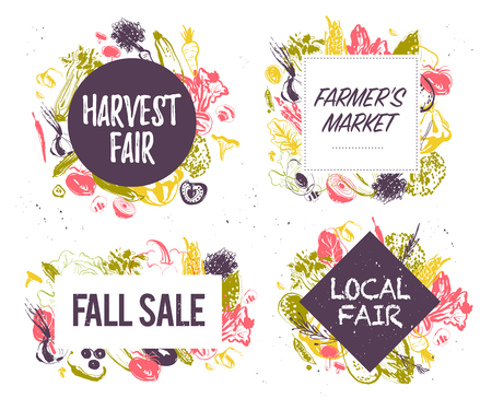 Vector collection of farmers market & harvest fair emblems & labels with hand drawn sketch style vegetables. Food festival, autumn fall sale - design elements - banners, posters, tags, menu, packaging