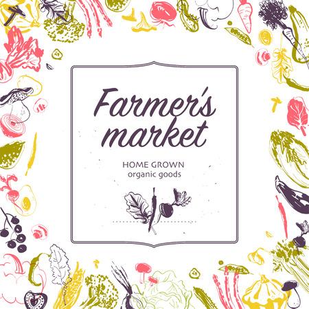 Banner de mercado de agricultores de vector con marco - verduras crudas boceto dibujado a mano aisladas sobre fondo blanco. Bueno para pancartas y anuncios de mercados de agricultores y ferias de alimentos, menús, envases, etiquetas de precios, etc.