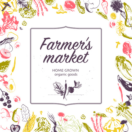 Vector farmers market banner with frame - hand drawn sketch raw vegetables isolated on white background. Good for farmers market & food fair banners and advertisements, menu, packaging, price tags etc Ilustração