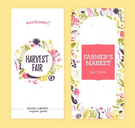 Vector farmers market banners template with frame & round label. Hand drawn sketch raw vegetables. Good for farmers market & food fair posters, flayers, advertisements, menu, packaging, price tags etc