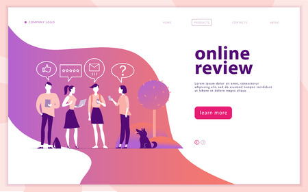 Vector web page concept design with online review theme. People with mobile device - laptop, tablet, smartphone - giving stars, rating. Thumb up, stars line icons. Landing page, mobile app, site. Illustration