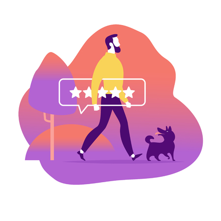 Vector flat illustration concept design with online review theme. Man giving a five star rating, positive feedback. Landscape, dog in modern style. Landing page, mobile app, UI, UX, site.