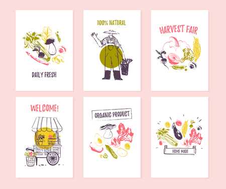 Vector set of hand drawn cards for food festival, farmers market and harvest fair with cute hand drawn sketch food elements - vegetables, farmer, stall. Good for price tags, banners, advertising, menu Ilustração