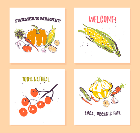 Vector set of hand drawn cards for food festival, farmers market and harvest fair with fresh hand drawn sketch food elements - vegetables. Good for price tags, banners, advertising, menu, package etc. Иллюстрация