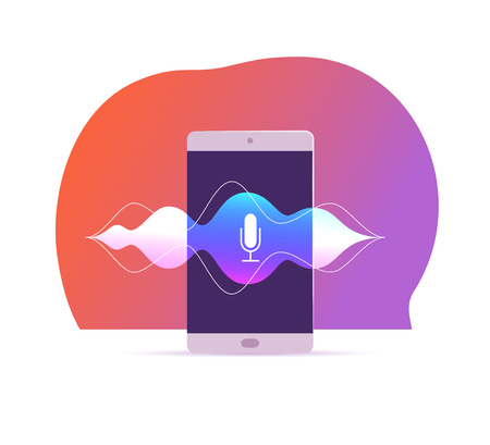 Vector flat voice recognition illustration with smartphone screen, dynamic microphone icon on it, sound waves, stand isolated. Artificial intelligence, personal assistant, modern technologies concept.