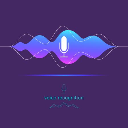 Reconocimiento de voz plano vectorial, ilustración de asistente personal con icono de micrófono dinámico y líneas de ondas de sonido aisladas sobre fondo oscuro.