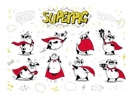 Vector collection of pig super hero hand drawn characters isolated on white background. Comic style. Outline drawing. Perfect for banners, cards, prints, package design, childrens room interior decor