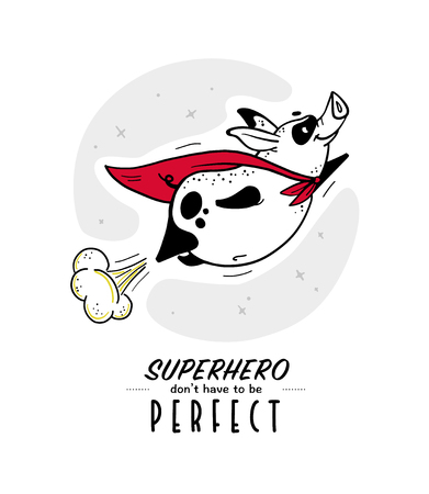 Vector hand drawn illustration with text and funny pig super hero character in yellow cloak isolated on white background. Comic book style. Good for print design, cards, packaging, banners, decor etc. Illustration