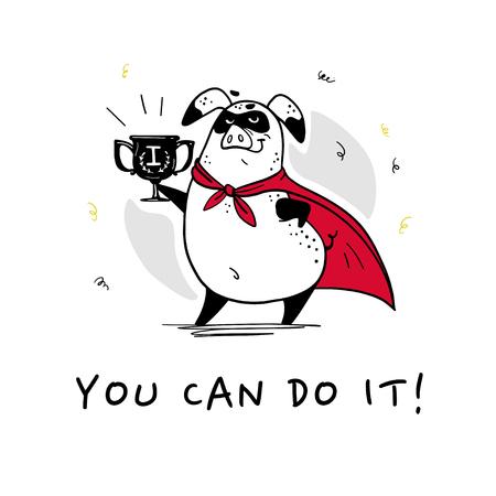 Vector hand getekende illustratie met tekst en grappig varken superheld karakter in gele mantel geïsoleerd op een witte achtergrond. Comic book stijl. Goed voor printontwerp, kaarten, verpakkingen, banners, decor etc. Vector Illustratie