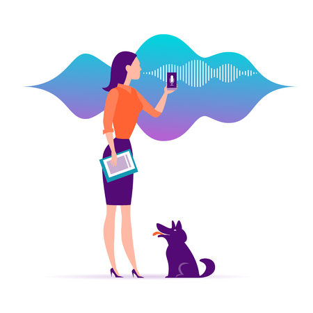Vector flat personal online assistant illustration. Office girl with smartphone microphone dynamic icon, sound waves. UI, UX, mobile app, web site concept for voice recognition landing page design.