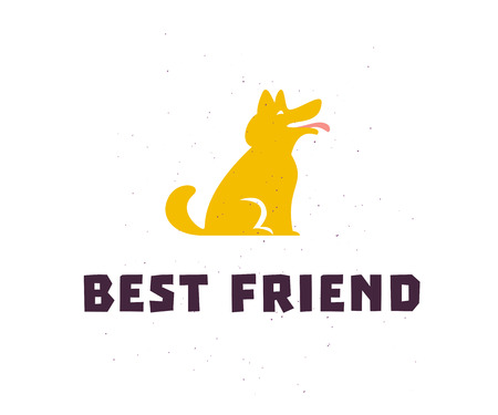 Vector flat simple logo with happy dog silhouette icon stand isolated on white background. Good for dog lovers, pet shop emblem, animal clinic, puppy center, shelter, veterinary etc.