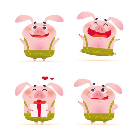 Vector collection of portrait of cute smiling little pig character in green pants in flat cartoon style standing isolated on white background. Pig emoticons. Symbol of New year and Christmas holidays. 向量圖像