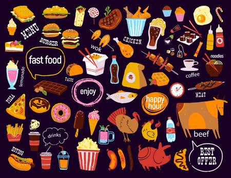 Big vector fast food & snack set isolated on black background: burger, dessert, pizza, coffee, chicken, wok, beef etc. Chalkboard drawing, hand drawn sketch style. Good for menu, special offer design. Illustration