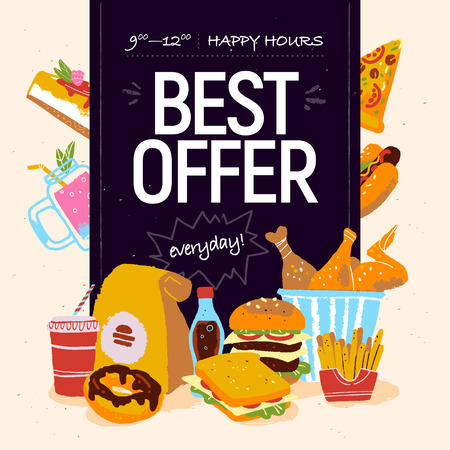 Vector hand drawn illustration for fast food cafe special offer advertising or banner design with pizza, donut, soda, burger, fries, sandwich, chicken, cheesecake etc. Chalkboard drawing, sketch style