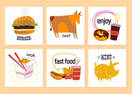 Vector collection of fast food labels for menu design, chalkboard drawing, special offer advertising etc. Cow, burger, wok, hot dog, fries, pork, donut, coffee to go illustration. Hand drawn sketch. Illustration