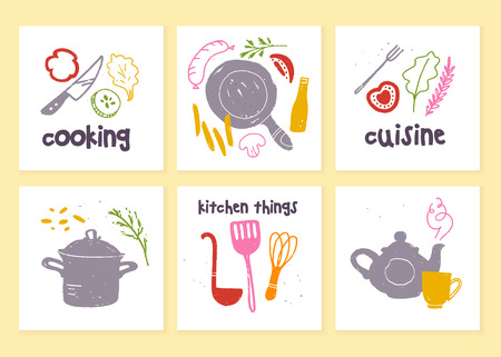 Vector set of kitchen labels for menu design, chalkboard drawing, advertising, logo samples, tags, packaging, emblems etc. Cooking items: pan, pot, knife, egg beater illustration. Hand drawn sketch.