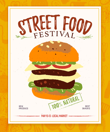 Vector fast food festival poster, placard, banner, advertising, flayer with food truck and farmer illustration template. Hand drawn sketch style. Snacks and natural fresh products background. Illustration