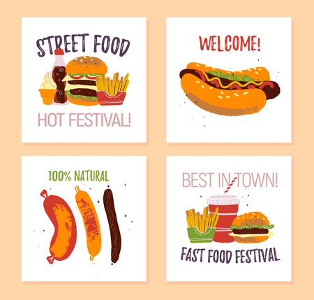 Vector set of fast food festival poster, placard, banner, advertising, flayer, card, sticker with burger, hot dog, sausage, fries, soda, ice cream illustration template. Hand drawn sketch style.