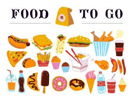 Vector hand drawn collection of fast food to go - coffee, hot dog, sandwich, burger, wok, chicken, fries etc. isolated on white background. Sketch style. Good for menu & packaging design, chalkboard. Illustration