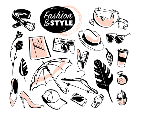 Vector set of modern lady fashion elements & accessories - shoes, glasses, cosmetics & aroma, monstera leaves, shopping bag, hat, smartphone isolated on white background. Hand drawn sketch style. Illustration