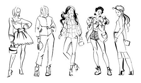 Ilustración de moda vector de modelos modernos de niña en la colección de tela de primavera otoño aislado sobre fondo blanco. Dama dibujada mano en estilo boceto. Perfecto para pancartas, publicidad, desolladores, etc.