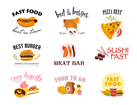 Vector collection of fast food logo templates isolated on white background. Textured craft effect, hand drawn sketch style. Good for menu design, packaging, advertising, banners, flayers etc.