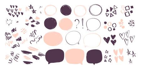 흰색 배경에 스케치 스타일로 추상 손으로 그린 낙서 요소의 벡터 컬렉션 - 심장, 별, 선 파도, 립스틱 선, 기하학적 모양, 말풍선. 패션 패턴에 적합 벡터 (일러스트)