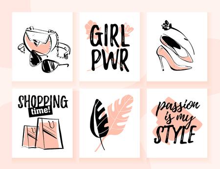 Colección de vectores de tarjetas de moda para ir de compras y tema de estilo personal con elementos tradicionales de moda, accesorios, modelos de chicas hermosas, citas de texto. Bueno para banner, impresión, publicidad, web, etiquetas de precio.