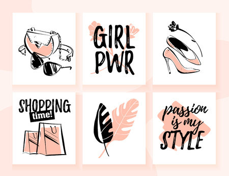 Vector collection of fashion cards for shopping and personal style theme with trendy traditional elements, accessories, beautiful girl models, text quotes. Good for banner, print, ad, web, price tags.