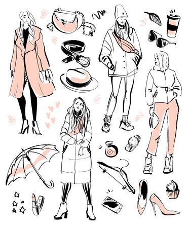 Colección de vectores de elementos de moda moderna y hermosos modelos para otoño, primavera: ropa, estilo personal, look moderno, cosméticos, accesorios, zapatos, etc., aislados. Estilo de boceto dibujado a mano.