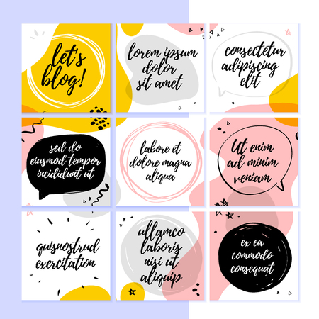 Vector template for social networks trendy blog layout with abstract modern pattern and elements and text spaces - speech bubbles, frames. Hand drawn sketch style. Abstract UI design for mobile app. Foto de archivo - 127666179