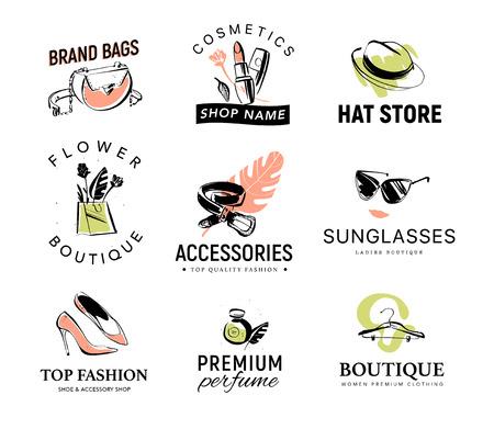 Colección de vectores de diferentes logotipos de dama de moda para tienda de accesorios y ropa, boutique de aroma y calzado, tienda de cosméticos y sombreros, mercado floral. Elementos de moda dibujados a mano: zapatos, perfumes, gafas de sol Logos