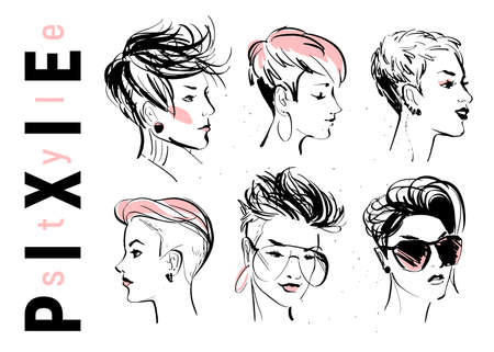 Vector set of hand drawn young beautiful ladies with modern pixie cut in different shapes isolated on white background. Fashion models. Sketch marker style. Good for ads, banners, logo, packaging etc.
