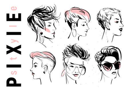 Vektorsatz handgezeichnete junge schöne Damen mit modernem Pixie-Schnitt in verschiedenen Formen isoliert auf weißem Hintergrund. Modemodelle. Sketch-Marker-Stil. Gut für Anzeigen, Banner, Logos, Verpackungen usw.
