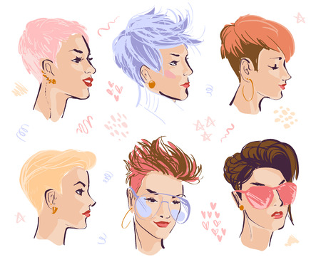 Vector set of hand drawn young beautiful ladies with modern pixie cut in different shapes isolated on white background. Fashion models. Sketch marker style. Good for ads, banners, logo, packaging etc. Illustration