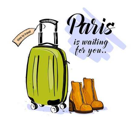 Vector trendy fashion illustration with hand drawn women boots, baggage & Paris waiting greeting isolated on white background. Sketch market style. Shopping, traveling theme. Banner, ad, flayer, sale. Illustration