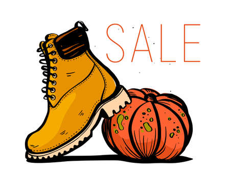 Vector hand drawn trendy fashion illustration with sale theme and autumn / spring boots and pumpkin isolated on white background. Marker sketch style. Good for banner, ad, flayer, tag, packaging etc. Illustration