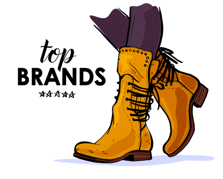 Vector hand drawn trendy fashion illustration with sale theme and autumn  spring female yellow boots isolated on white background. Marker sketch style. Perfect for banner, ad, flayer, tag, packaging.