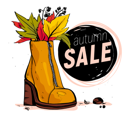 Vector hand drawn trendy fashion illustration with sale theme and autumn / spring female shoe isolated on white background. Marker sketch style. Perfect for banner, ad, flayer, tag, packaging etc. Foto de archivo - 127666183