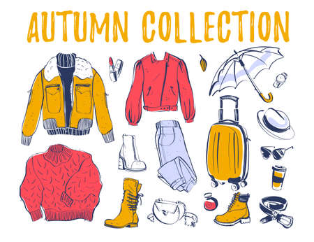 Vector collection of trendy autumn & winter female wardrobe clothing & accessory elements: jacket, boot, bag, jeans etc isolated on white background. Hand drawn sketch style. Good for card, sale tag.
